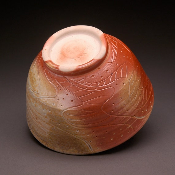 Wood Fired Chawan Bowl with Flowing Graceful Lines and Texture and Pale Pink Blush Interior