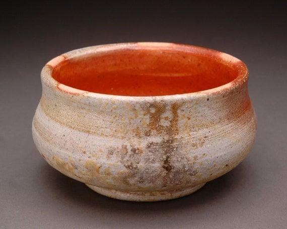 Wood Fired Shallow Haikaburi Bowl with Orange Shino Liner