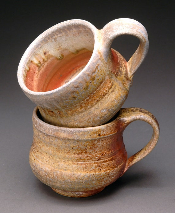 Pair of Wood Fired Tea or Coffee Cups with Orange Shino Liner and Beautiful Ash Drips