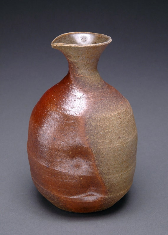 Brown and Gray Wood Fired Ni-go Tokkuri or Japanese Sake Bottle with Celadon Liner