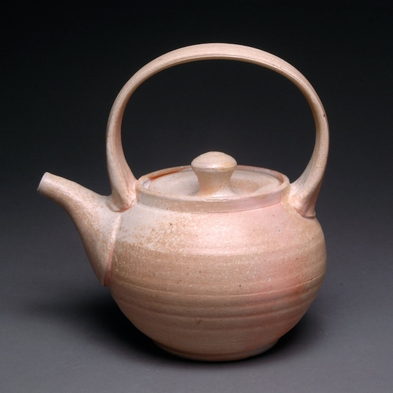 Unglazed Creamy Wood Fired Teapot with Pink and Orange Blush