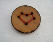 connect-the-dots heart - a natural wooden button, handmade and wood-burned embellishment