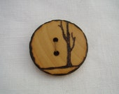 winter tree - a natural wooden button, handmade and wood-burned embellishment