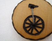 unicycle - a natural wooden button, handmade and wood-burned embellishment