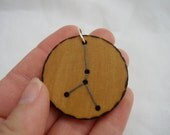 zodiac constellation cancer - a natural wooden pendant, handmade wood-burned jewelry