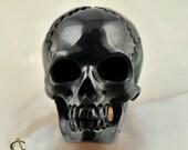 Finely Carved Black BUFFALO HORN SKULL Bead 22mm   (350035)