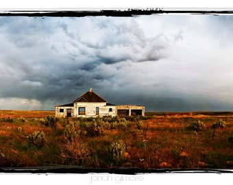 Old Abandoned House On Prairie with Stormy Sky, Condon Oregon 8 x 20 Panoramic Print
