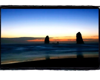Cannon Beach Oregon Ocean Scene Monolith Needles at Sunset Fine Art Print