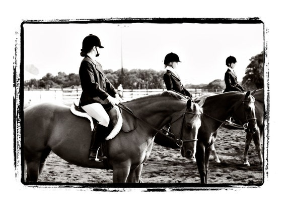 "Girls on Horses at Horse Show ""Anticipation"" Fine Art Print"