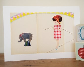 Circus Illustration art print - High wire circus girl