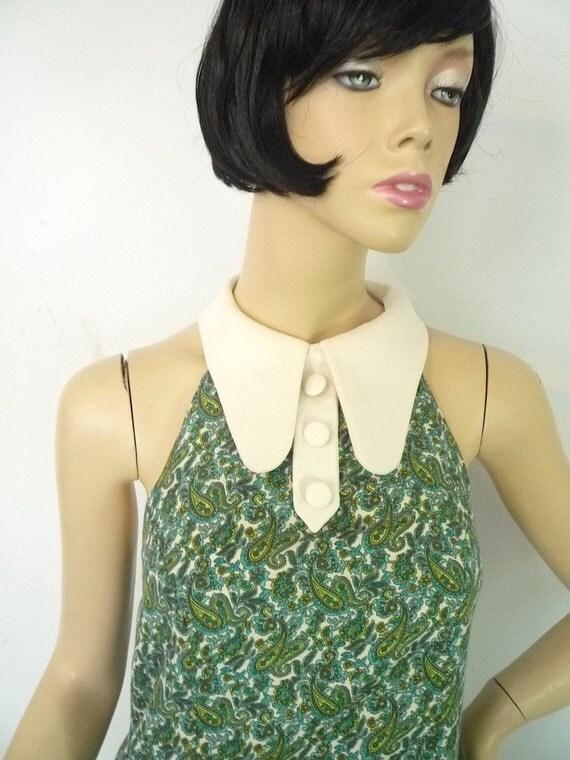 Beautiful 1960s Paisley penny collar halter dress reproduction