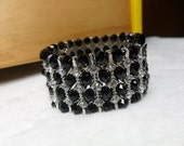 """Sale- Markdown 3USD - 40% off -4-Rows Cool Black Glass Clear Crystal Stretchy Bracelet 7""""L"""