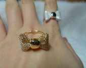Hot 1PC Silver And Golden Tone Metal Cute Bowknot Bow Ring -- Friendship Love Retro Finger Rings