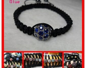 Blue Disco Crystal Ball Hematite Pave Macrame Men/Women Bracelet Handmade