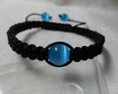 Blue Cat's Eye Stone Pave Ball Bead Macrame Woven Men/Women Bracelet