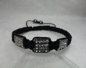 Gun-Black And Silvery Square Clear Disco Crystal Dangle Black Hematite Pave Macrame Women Bracelet