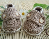 Crochet Baby Booties - 100% Cotton mocca with almond trim Made-To-Order  0-6 months choose Colors and Size