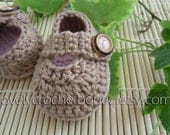 Baby booties crochet Mary Jane Mocca with misty rose trim 100% cotton, 0-3 months