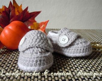 Crochet Baby Booties - Boy Loafers smokey grey and white trim Newborn-9 months