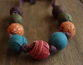 Fabric Beaded Necklace with Coordinating Moda Fabrics