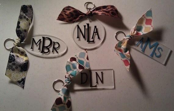 Personalized Initial Monogram Acrylic Keychain