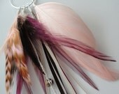 SALE-Vintage Pink single feather earrings w/ sterling silver hoop