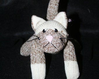 Handmade Mini Sock Monkey Kitty Cat