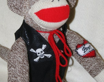 Handmade Biker Sock Monkey with personalized tattoo