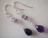 Purple Amethyst Pear/Briolette Drops, Sterling Silver Dangle Earrings