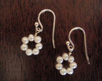 Tiny Freshwater Potato Seed Pearl and Sterling Silver Flower Earrings