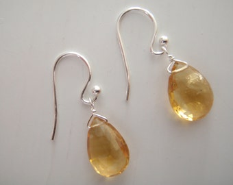 Free Shipping - Citrine Pear/Briolette Drop and Sterling Silver Earrings