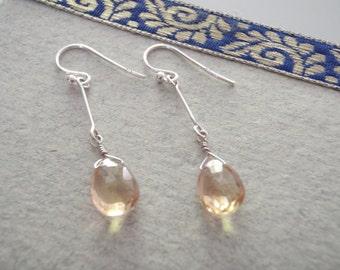 Champagne Quartz & Sterling Silver Drop Dangle Earrings