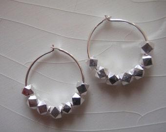 Tiny Sterling Silver Bali Nugget Bead Hoop/Sleeper Earrings