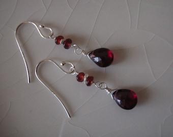 Free Shipping - Garnet Pear/Briolette Drops, Sterling Silver Dangle Earrings