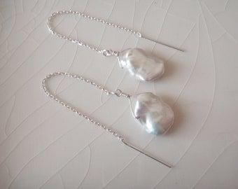 20% off plus Free Shippig - Ear Thread/Threaders Single Ivory/White Medium Keishi Pearl Dangle Earrings