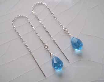 Free Shipping - Ear Thread/Threader Earrings: Swarovski Crystal Sapphire Blue Topaz Briolette Drop Dangle Earrings