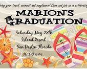 Beach Theme Graduation Invitation- Printable / Digital File