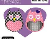PDF Applique Template - Owl in love