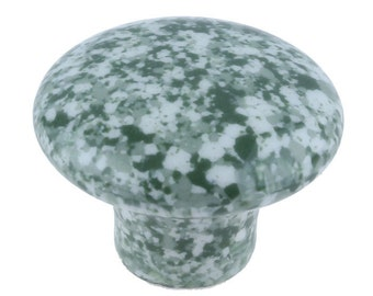 4 Green and White Speckled Ceramic Cabinet Knob Drawer Pull