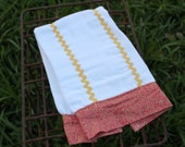 Girl's Burp Cloth, 6 ply cloth diaper, cherry red and yellow