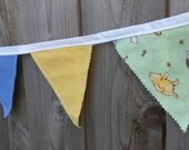 ChristmasinJuly Winnie Pooh Bunting 1, Baby Decoration, green yellow blue fabric,  photo prop