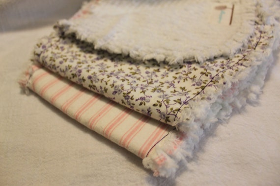 Chenille Burp Cloth in Rag Style, peanut shape, purple and pink, set of 2