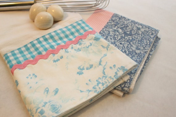 Delft Flour Sack Towel (tea, kitchen towel), set of 2, blue and pink, shabby chic, housewarming or bithday gift