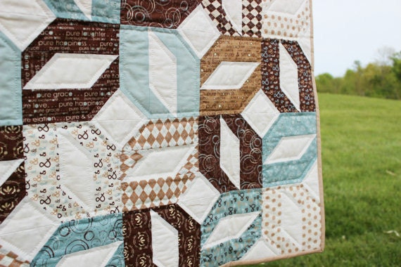 Baby Boy Quilt Hand Quilted Moda's PURE