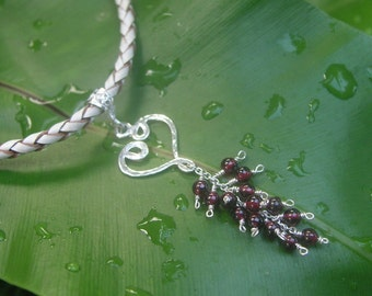 Garnet Beaded Heart Sterling Silver Pendant