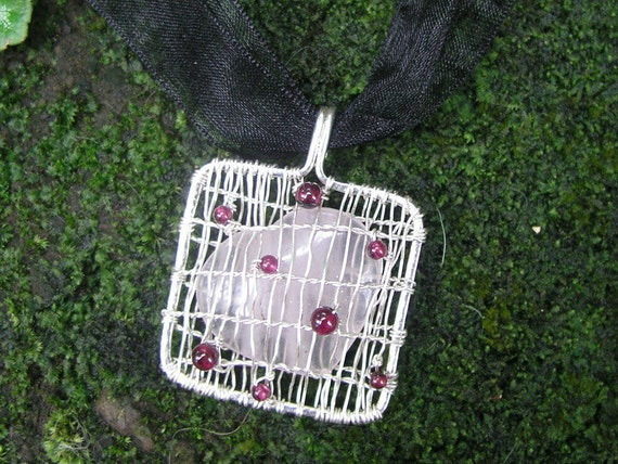 Caged Rose Quartz Heart Garnet Sterling Silver Pendant