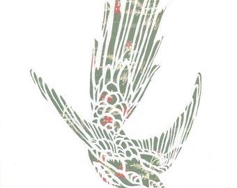 Hummingbird - PRINT from an Original Papercut