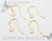 E104-G// Gold Plated French Curved Earwire, 6pcs