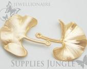 P110-MG// Matt Gold Plated Ginkgo Leaf Pendant, 2pcs