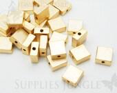 MB002-MG// Matt Gold Plated Square Metal Beads, 4pcs